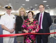 Image Caption: P&O Cruises VIP, Michele Charles, cuts the ribbon to reopen the newly refurbished Mayflower Cruise Terminal at Southampton docks today. Left to right: Captain Simon Terry, Master of P&O Cruises' Ventura, Elaine Holt, Executive Vice President of Operations, Carnival UK, Michele Charles and Nick Ridehalgh, Director, ABP Southampton. Picture by Christopher Ison