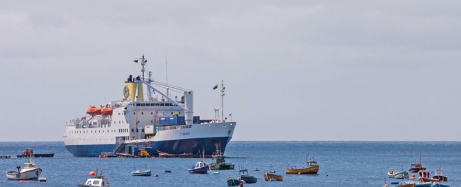 RMS St Helena at anchor in James Bay, St Helena