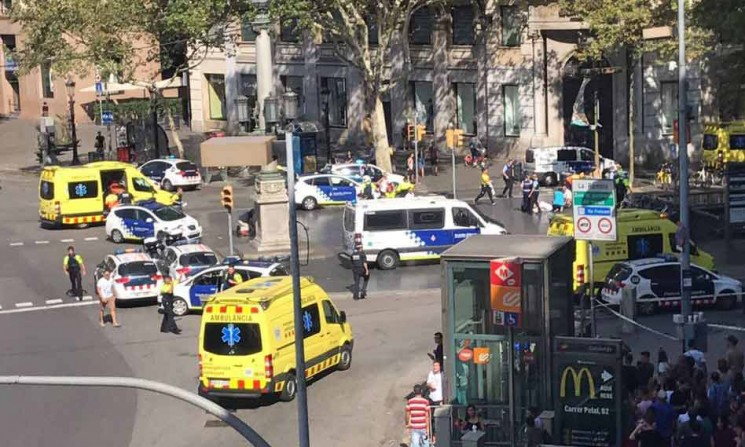 Police in Las Ramblas, after the terror attack in Barcelona